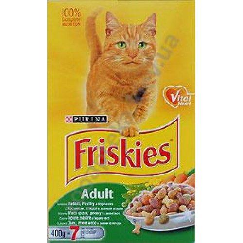 Friskies - Корм Фрискас для взрослых кошек с кроликом, птицей и зелеными овощами