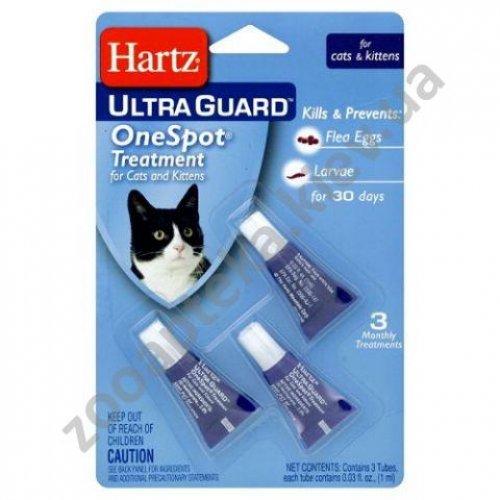 Hartz UltraGuard OneSpot - капли Хартц для кошек от яиц блох и их личинок