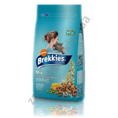 Brekkies Excel Mix Fish - корм Брекис для взрослых кошек с лососем, тунцом и овощами