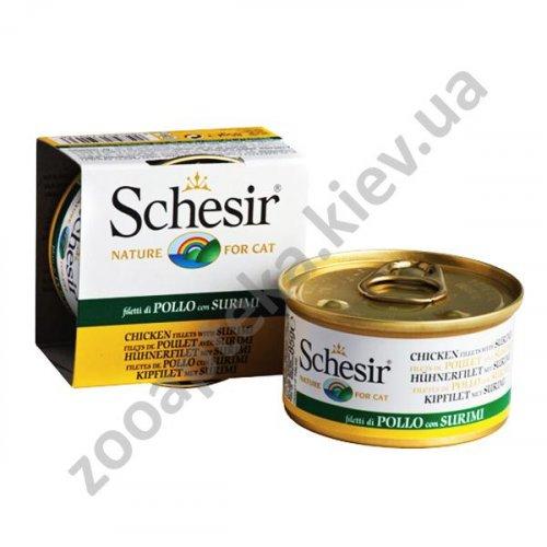 Schesir Chicken Surimi - консервы Шезир филе курицы с сурими для кошек, банка