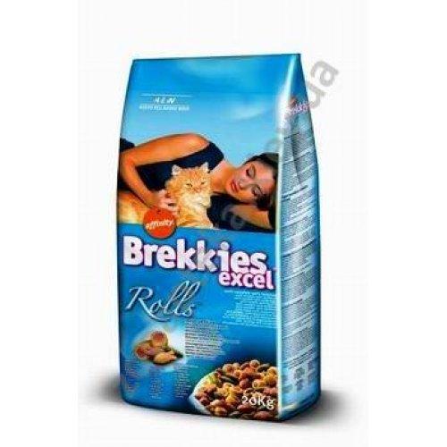 Brekkies Excel Rolls Fish - корм Брекис с форелью, тунцом, крабом и моллюском для кошек