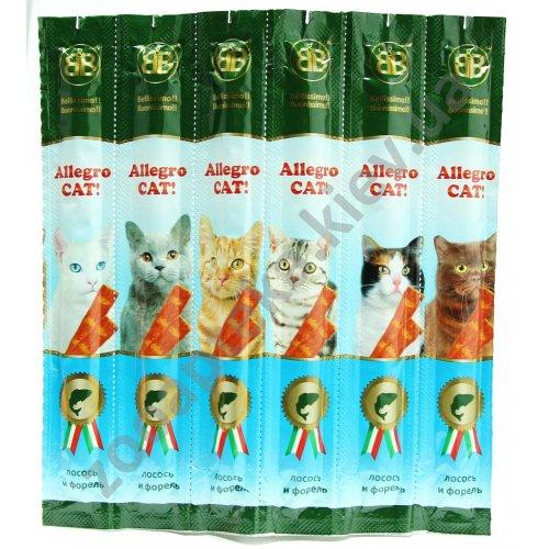 Allegro Cat - рыбные колбаски Аллегро Кет с лососем и форелью для кошек