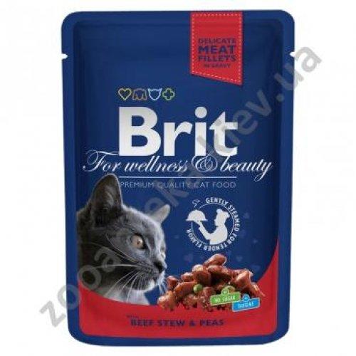 Brit Premium - корм Брит Рагу из говядины с горошком для кошек