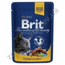 Brit Premium - корм Брит с курицей и индейкой для кошек