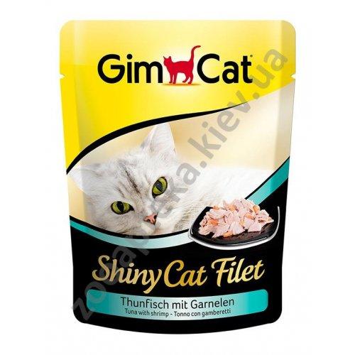 Gimpet ShinyCat Filet - консервы Джимпет тунец с креветками, пауч