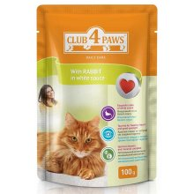 Клуб 4 Лапы консрвированный корм с кроликом в белом соусе для взрослых кошек
