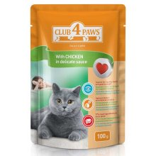 Клуб 4 Лапы консервированный корм с курицей в деликатном соусе для взрослых кошек