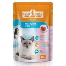 Клуб 4 Лапы консервированный корм с лососем в желе для взрослых кошек