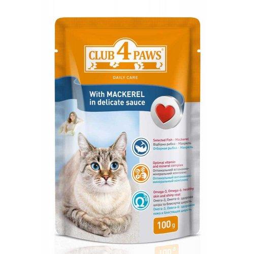 Клуб 4 Лапы консрвированный корм с макрелью в деликатном соусе для кошек