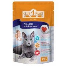 Клуб 4 Лапы консервированный корм с ягненком в деликатном соусе для кошек