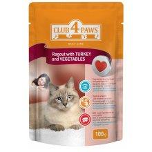 Клуб 4 Лапы консервированный корм сочное рагу с индейкой и овощами для взрослых кошек