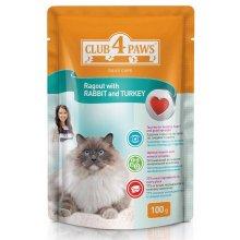 Клуб 4 Лапы консервированный корм сочное рагу с кроликом и индейкой для взрослых кошек