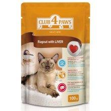 Клуб 4 Лапы консервированный корм сочное рагу с печенкой для взрослых кошек