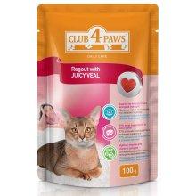 Клуб 4 Лапы консервированный корм сочное рагу с телятиной для взрослых кошек