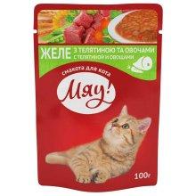 Корм Мяу! сочное желе с телятиной и овощами для взрослых кошек