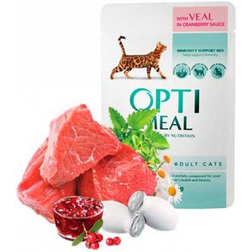 OptiMeal Veal Cranberry sauce - консервы ОптиМил с телятиной в клюквенном соусе для взрослых кошек