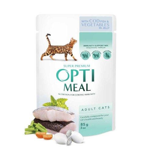 OptiMeal Cod Fish and Vegetables - консервы ОптиМил с треской и овощами в желе для взрослых кошек