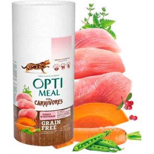 OptiMeal For Carnivores - беззерновой корм ОптиМил с индейкой и овощами для кошек