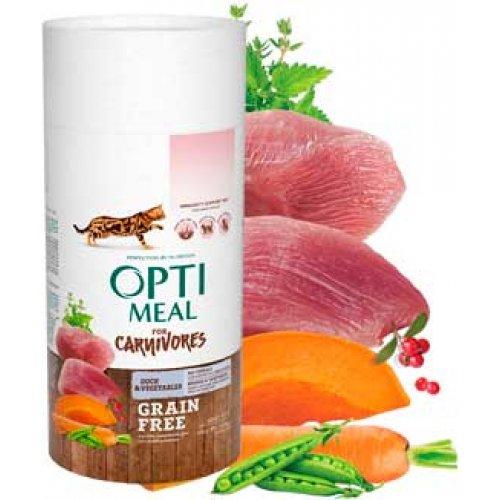 OptiMeal For Carnivores - беззерновой корм ОптиМил с уткой и овощами для кошек