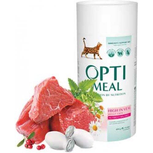 OptiMeal High In Veal - корм ОптиМил с телятиной для взрослых кошек