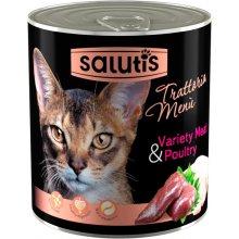 Salutis Trattoria Menu - консервы Салютис Мясное ассорти с сердцем для кошек