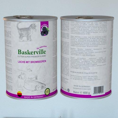 Baskerville - консервы Баскервиль с лососем и ежевикой для котят
