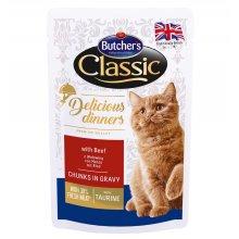Butchers Classic Delicious - консервы Батчерс кусочки с говядиной в соусе для кошек