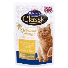 Butchers Classic Delicious - консервы Батчерс кусочки с курицей в соусе для кошек