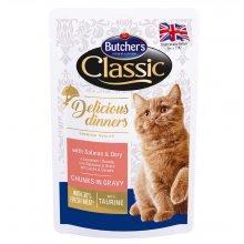 Butchers Classic Delicious - консервы Батчерс кусочки с лососем в соусе для кошек