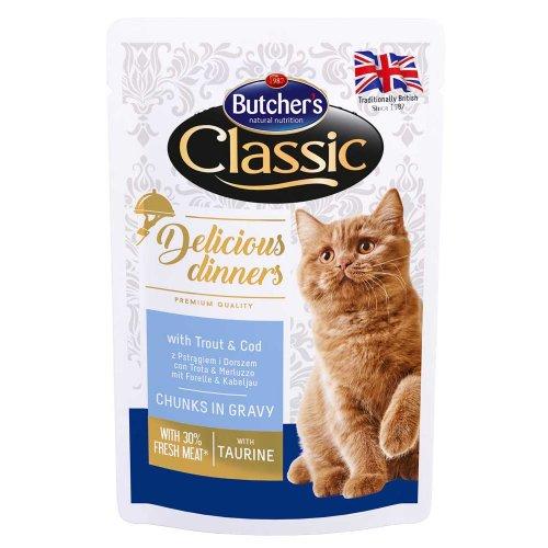 Butchers Classic Delicious - консервы Батчерс кусочки с тунцом в соусе для кошек