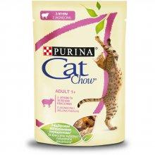 Cat Chow - консервы Кэт Чау с ягненком и зеленой фасолью в желе для кошек