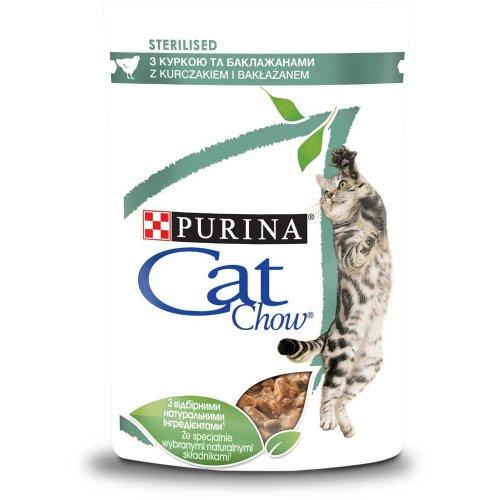 Cat Chow Sterilised - консервы Кэт Чау с курицей и баклажанами в желе для стерилизованных кошек