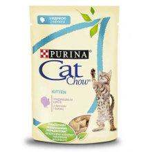 Cat Chow Kitten - консервы Кэт Чау с индейкой и цуккини в желе для котят