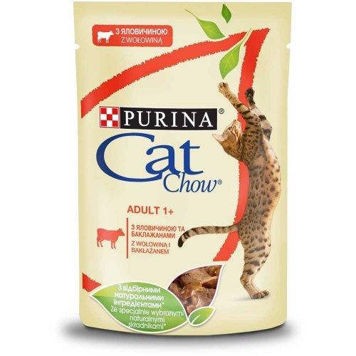 Cat Chow - консервы Кэт Чау с говядиной и баклажанами в желе для кошек