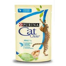Cat Chow - консервы Кэт Чау с лососем и зеленым горошком в желе для кошек