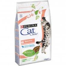 Cat Chow Sensitive - корм Кэт Чау для взрослых кошек с чувствительной кожей и пищеварением