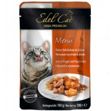 Edel Cat - паучи Эдель, нежные кусочки в желе, с птицей и кроликом