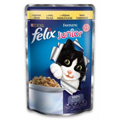 Felix Fantastic Junior - консервы для котят Феликс с курицей в желе