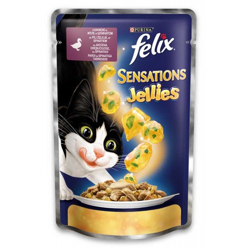 Felix Sensation - консервы Феликс с уткой и шпинатом в желе