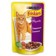 Friskies - корм Фрискас для взрослых кошек с говядиной и ягненком в подливке