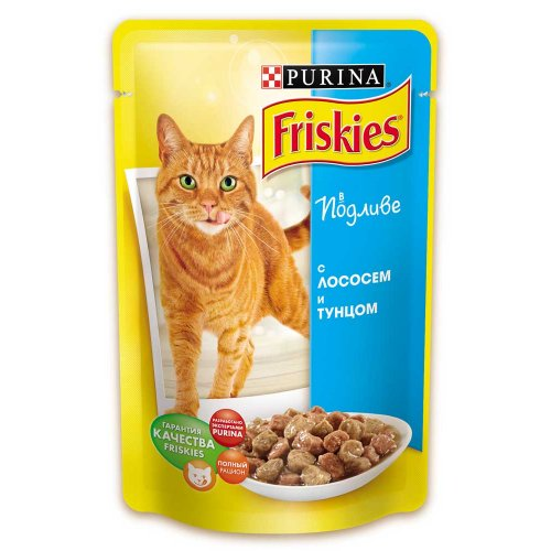 Friskies - корм Фрискас для взрослых кошек с лососем и тунцом в подливке