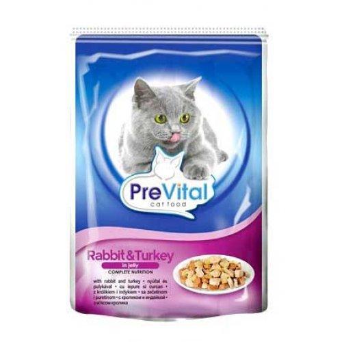 PreVital - консервы ПреВитал с кроликом и индейкой в желе для кошек