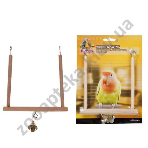 Karlie-Flamingo Wooden SwIng S - деревянные качели с колокольчиком Карли-Фламинго для птиц