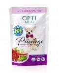 OptiMeal Privilegi - консервы ОптиМил с яненком и шпинатом для собак мелких пород