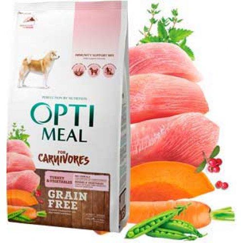 OptiMeal For Carnivores - беззерновой корм ОптиМил с индейкой и овощами для собак