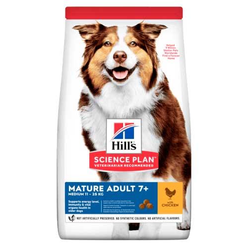 Hills SP Mature Adult 7+ Medium Chicken - корм Хиллс для пожилых собак, с курицей