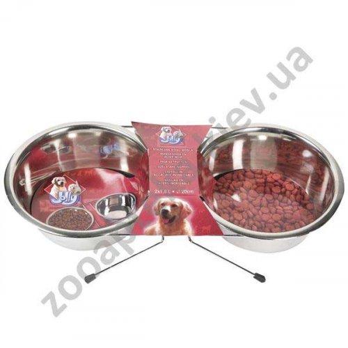 Karlie-Flamingo Dinner Set - миски из нержавеющей стали на подставке Карли-Фламинго для собак