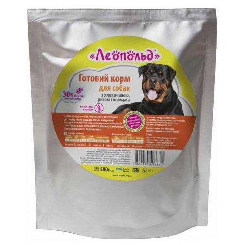 Леопольд - готовый корм с говядиной, рисом и овощами для собак