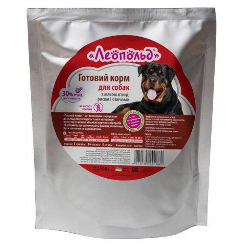 Леопольд - готовый корм с мясом птицы, рисом и овощами для собак