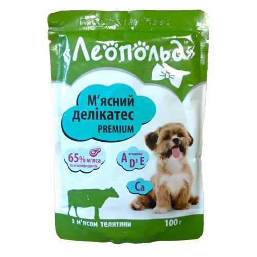 Леопольд - консервы Мясной деликатес с телятиной для собак